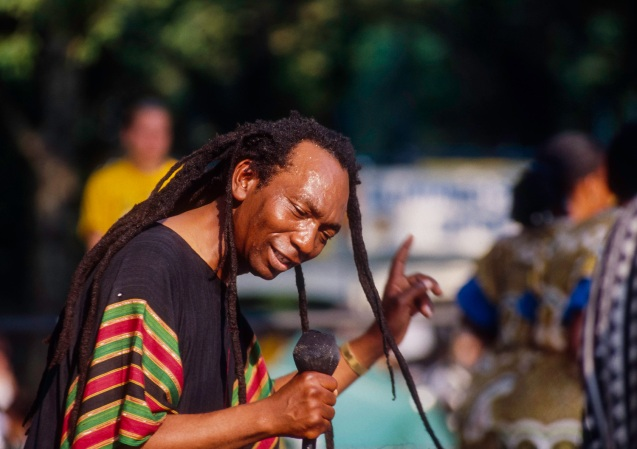African musician Thomas Mapfumo from Zimbabwe and his band The Blacks Unlimited perform Chimurenga music of Zimbabwean protest and struggle at Central Park SummerStage, New York, New York, Sunday, July 19, 1992. CREDIT: Photograph © 1992 Jack Vartoogian/FrontRowPhotos. ALL RIGHTS RESERVED.